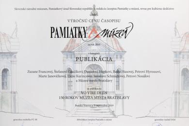 Výročná cena Pamiatky amúzeá diplom